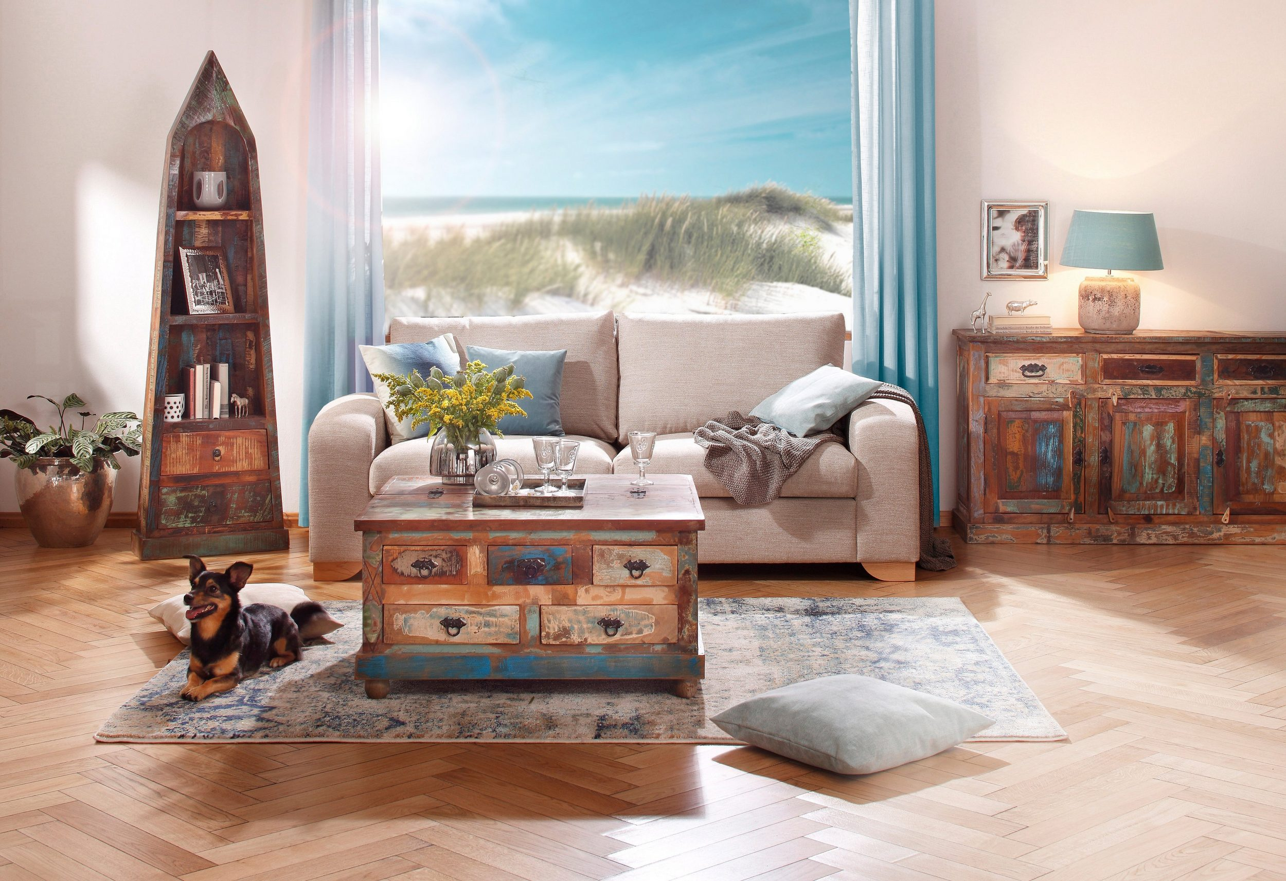 coffee table riverboat made of recycled wood. Black Bedroom Furniture Sets. Home Design Ideas